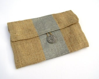 Gifts Under 10 - Mini Burlap Clutch with Metallic Silver Stripe and Bright Floral Liner- SALE - FREE SHIPPING