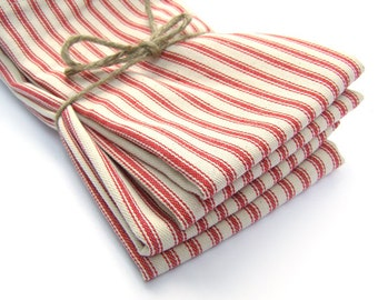 Cloth Napkins - Large Red French Ticking Stripe Cloth Napkins - Set of 4