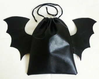 Faux Leather Bat Drawstring Makeup Cosmetic Bag, Faux Leather Drawstring bag, Makeup Pouch, Bat Bag, Bat Wing Pouch