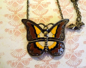 Magnificent Enameled Earth Butterfly Pendant    Butterfly Earthtones Jewelry Necklace