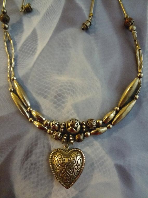 Vintage Heart Choker   Beaded Choker   Silver Heart Necklace