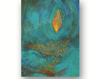 Candle of Thought 9x12 Original Acrylic Mixed Media Abstract Painting by Ginny Gaura