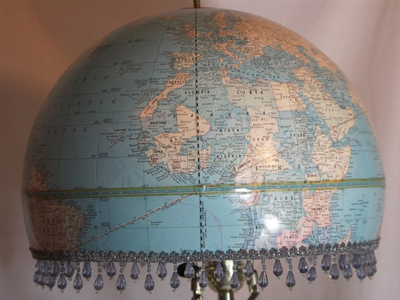 Vintage World Globe Lampshade. Makes an instant statement in your living room, library, student or child's room, or travel theme
