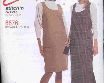 McCalls EASY pattern 8876 Comfy - Pull Over - Scoop Neck Jumper Long or Short  - with patch pockets -Side Slit - Misses  sz. 12 - 18