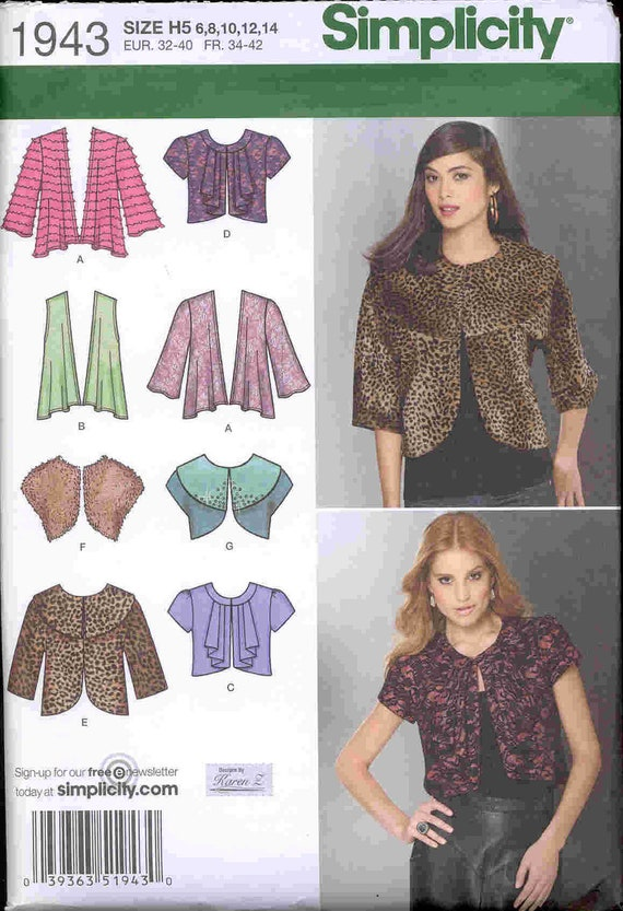 Simplicity Pattern 1943 Ladies short Shrugs Jackets Vest