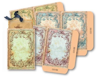 Antique Frame Envelopes Digital Collage Sheet Download -539- Digital Paper - Instant Download Printables