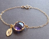 Personalized Initial Leaf, Amethyst bezel Bracelet - with 14k gold filled chain