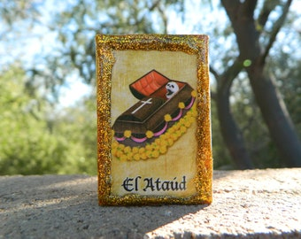 Loteria Day of the Dead Matchbox, El Ataud and La Tumba, Coffin and Tomb
