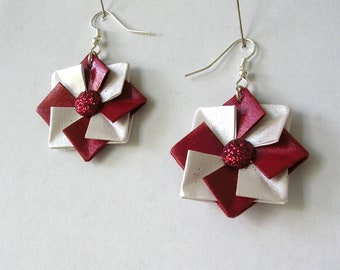 Origami Earrings - Origami Jewelry -  Red and White Paper Earrings