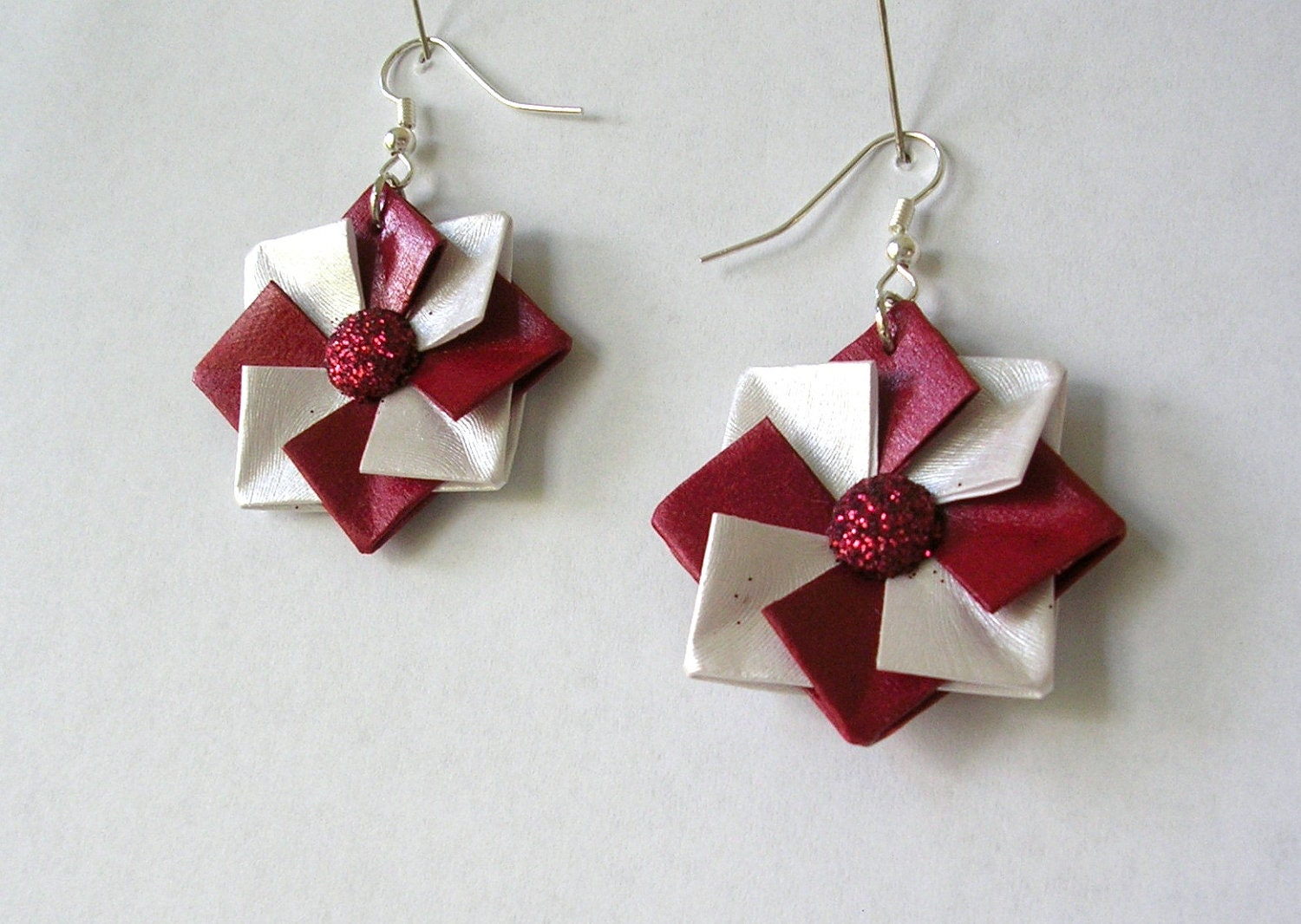 origami earrings origami jewelry red and white paper