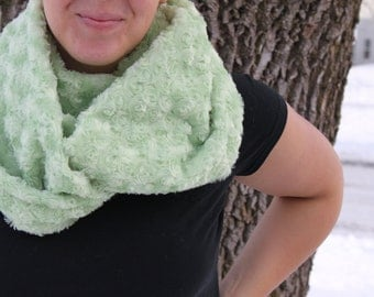 Infinity Scarf - Handmade- Minky-  Loop Scarf - Lime Green Rosette Minky- Cozy Super Soft Scarf-