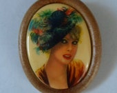 Unique Plastic West Germany Cameo Brooch