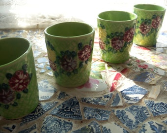 Set of 4 Green Basket Weave Flower Vase Mini Vase Planters Bud Vase ca1950