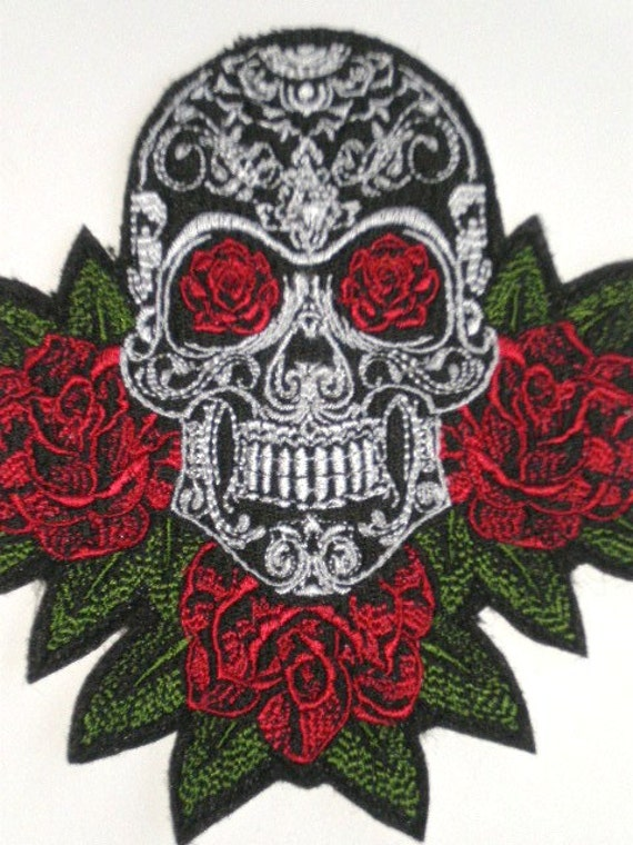 Sugar Skull And Roses Embroidered Iron On Patch Applique Day