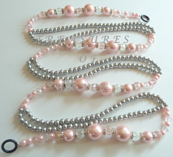 Glass Beaded Christmas Garland Swag Handmade Pink Gray Glass Beads
