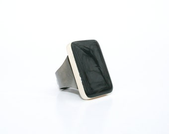 Jet black wood Cocktail Ring eco friendly jewelry bridesmaid gift statement ring Starlight Woods wood ring