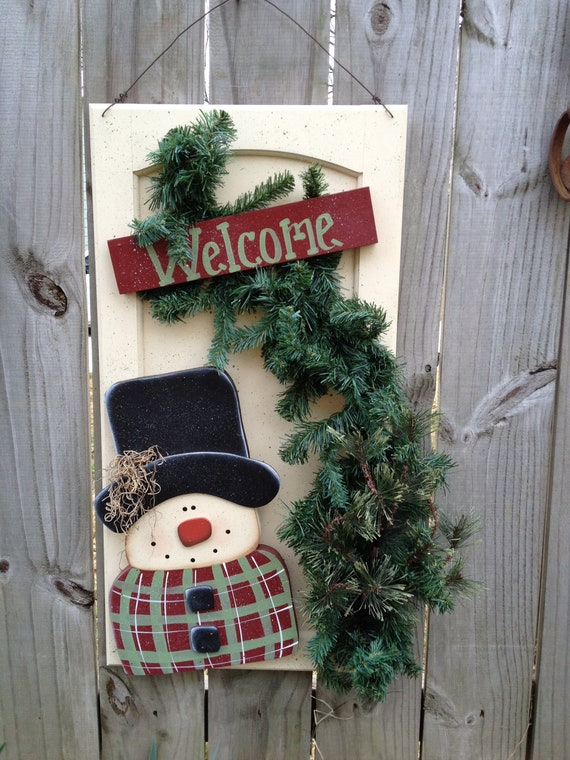 Whimsical Red And Green Snowman Welcome Sign Cabinet Door