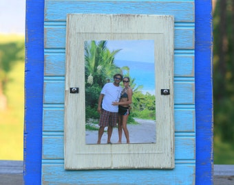 5 x 7 Distressed Handmade Picture Frame -  Blue, Indian Turquoise & Cream