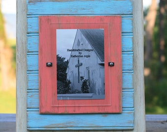 5 x 7 Distressed Handmade Picture Frame - Ivory, Baby Blue & Coral