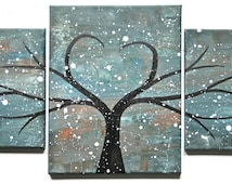 """Original Modern Heart Tree Painting """"Timeless Desire"""" on Multiple Canvases"""
