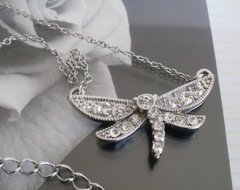 Vintage Rhinestone Dragonfly Necklace 1980s