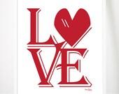 LOVE Print Red 10x8 unframed art, wedding gift, anniversary gift, engagement gift, living room or bedroom decor
