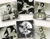 """2"""" HOLLYWOOD PIN-UP Halloween witches black and white squares printable download MagentaBelle digital collage sheet  6"""