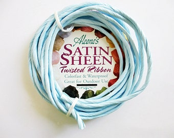 Satin Sheen Twisted Ribbon Raffia Light Blue Waterproof  10 feet