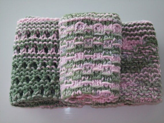 Pink and Green Camo Dishcloths, Pink and Green Camo Washcloths, Knitted Washcloths, Knitted Dishcloths