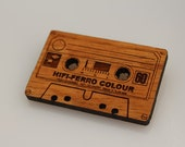 Wood laser cut brooch Retro cassette tape
