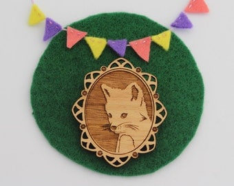 Wood laser cut brooch Adorable and cute little baby fox cameo - natural wood finish