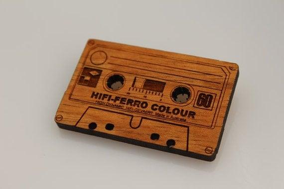 Wood laser cut brooch Retro cassette tape