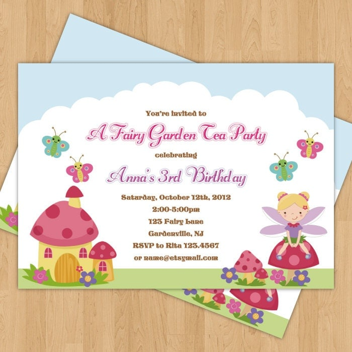 Fairy Garden Birthday Party Photo Invitation by JanetteChiuDesign
