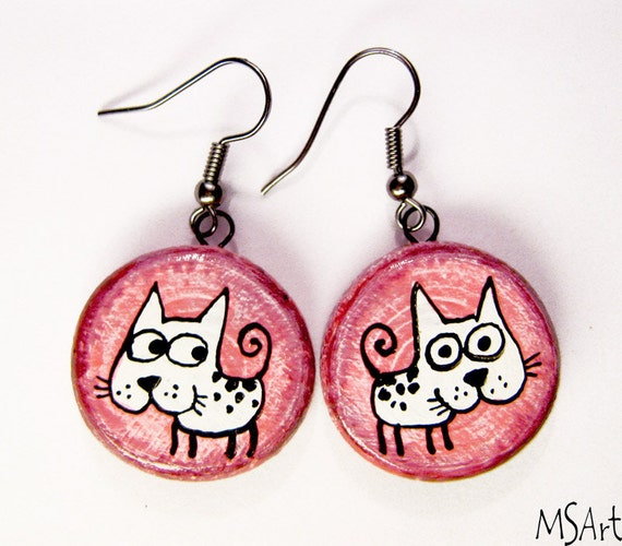 Pink purple handmade earrings with white dogs