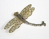 Handmade Fine Silver and Brass Brooch - Dragonfly