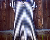 Vintage 90s Designer Nicole Miller Shirt Dress, Nautical Navy and White Stripes, Size Medium