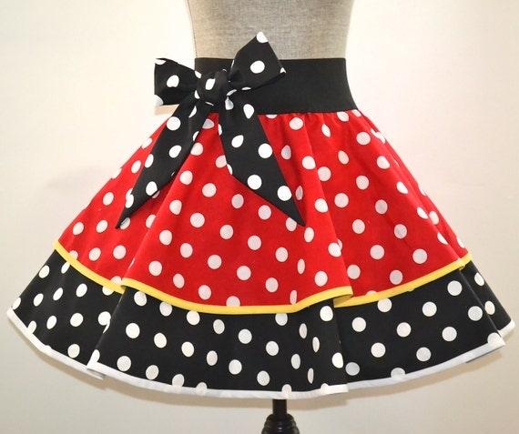 s minnie mouse skirt costume black white