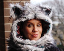 The Timber Wolf Hoodie Scarf with Mittens