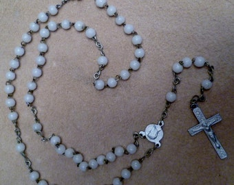 Vintage French Christening Rosary Beautiful White Glass Beads with a Lourdes Crucifix