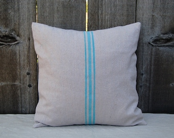French Grain Sack Style Pillow Cover - Aqua 18""