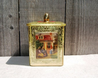 Vintage Venetian's Embossed Tin Storage Canister Box