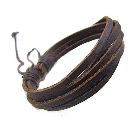 items similar to brown leather bracelet wristband mens