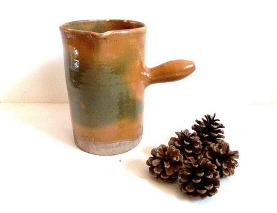 RESRVED FOR ELIZABETH ! Antique French ceramic pitcher . Jug .vase . French country decor.Rustic .Primitive