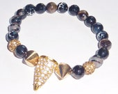 Spike Bracelet with Faceted Fire Agate Semiprecious Gemstones and Gold Rhinestone Spike