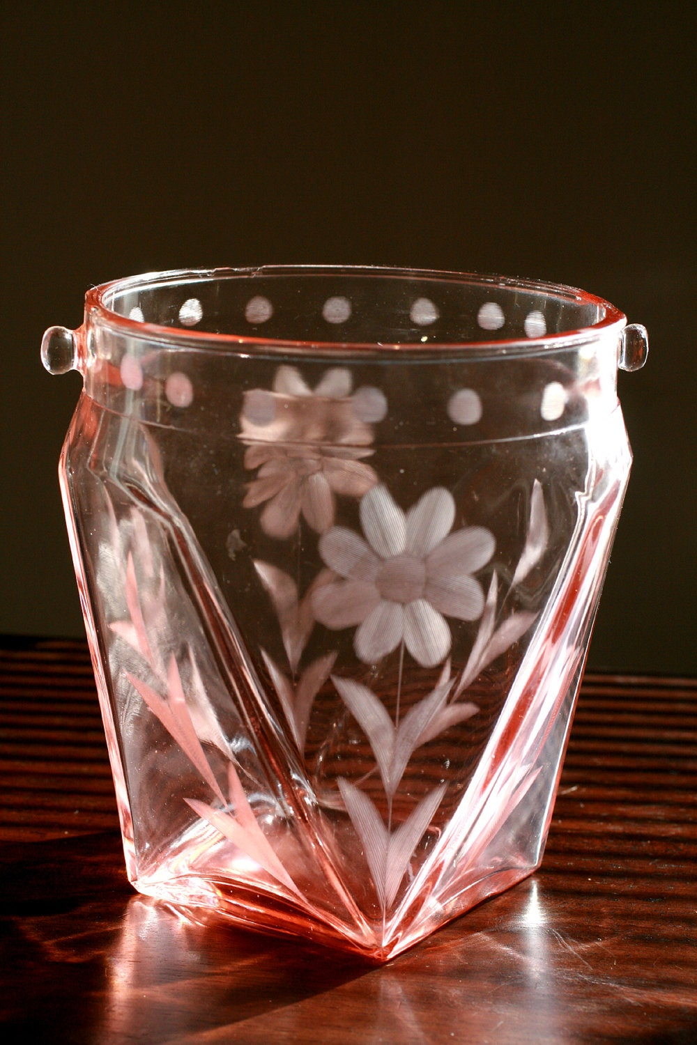 Vintage 1930s Pink Depression Glass Ice Bucket Vintage Pink