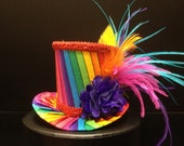 Funky Rainbow Mini Top Hat for Dress Up, Birthday, Tea Party or Photo Prop