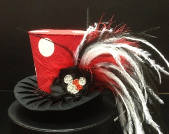 Red Minnie Mouse Mad Hatter Mini Top Hat. Great for Birthday Parties, Tea Parties, Photo Prop, Girls Night Out and Much More...