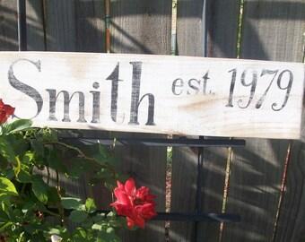 Hand-lettered, hand-painted wooden established sign, vintage look