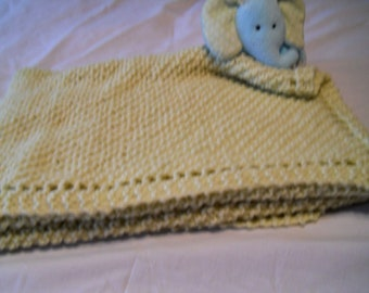 Hand knit diagonal knit afghan