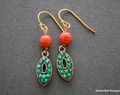 102- Turquoise and coral beaded dangle earrings